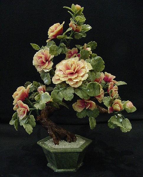 Цветы из нефрита, художественная резьба 10