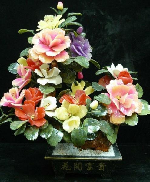 Цветы из нефрита, художественная резьба 12