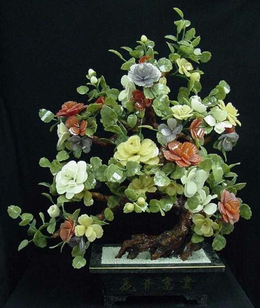 Цветы из нефрита, художественная резьба 14