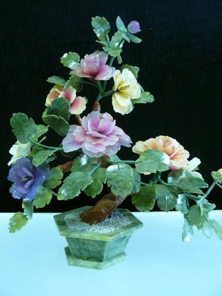 Цветы из нефрита, художественная резьба 4