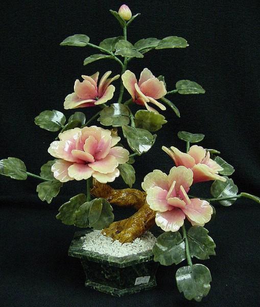 Цветы из нефрита, художественная резьба 8